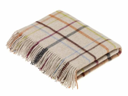 Bronte Throws CRA60-A01-Lambswool-Multi-Windowpane-Beige-Multi-500x375