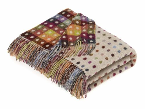 Bronte Throws MSCH-A01-Lambswool-Multispot-Beige-Multi-500x375