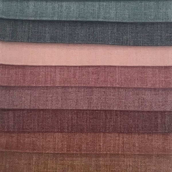 Trabeth Monza, (Top to Bottom): Teal, Denim, Blush, Raspberry, Heather, Grape, Spice, Rust
