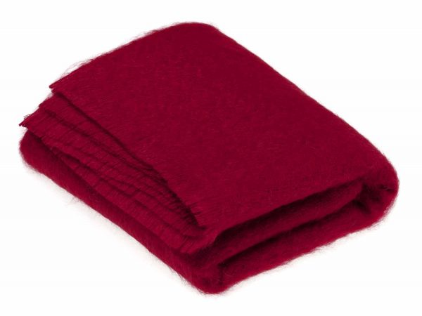 Bronte Mohair Throws - Berry red