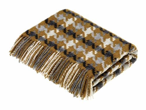 Bronte Throws T0429-P15-Lambswool-Houndstooth-Gold-Grey-Throw-500x375