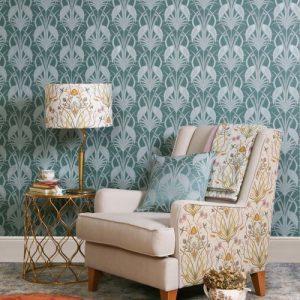 Design Studio, The Chateau, Deco Heron, Teal Wallpaper Room