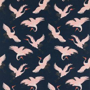 Oriental Bird Navy Fabric