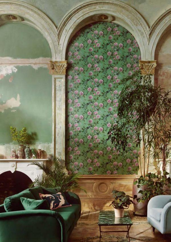 Vintage Chinoiserie Jade Wallpaper